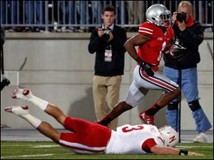 Ohio State player Bradley Roby (1) returns an interception for a touchdown against Nebraska during the first quarter.