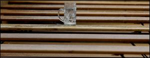 An empty beer mug stands on a table at the last day of the famous Bavarian