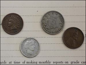 Coins from the early part of the century were in the time capsule.