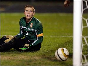 Sylvania Southview goalie Eric Breeden reacts to giving up goal number 7 to Anthony Wayne.