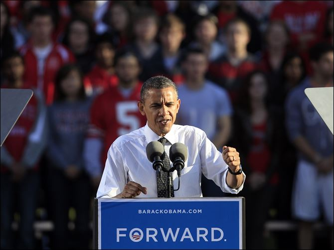 President Barack Obama speaks during a campaign event today on the campus of Ohio State University.