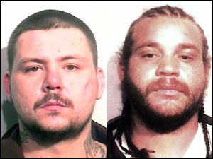 Andrew Goetz, left, and Chaz Jackson, right, are wanted by Toledo Police for the death of Jonathan Morris.