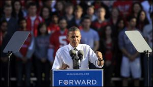 President Barack Obama speaks during a campaign event Tuesday at the Ohio State University Oval.