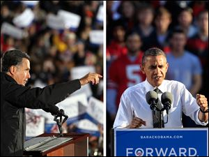 Mitt Romney campaigned in Cuyahoga Falls while Barack Obama was in Columbus.