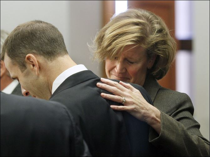 Tony Packo III and Cathleen Dooley freact after being not guilty Tony Packo III and Cathleen Dooley freact after being not guilty in Lucas County Common Pleas Court, Thursday.