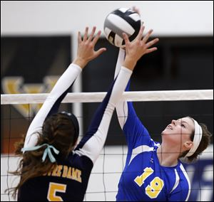 St. Ursula' s Maddie Burnham (19) spikes the ball against Notre Dame's Madeline Smyth during the Three Rivers Athletic Conference volleyball championship match Thursday at the University of Findlay's Croy Gymnasium.
