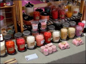 Scented candles are on display.