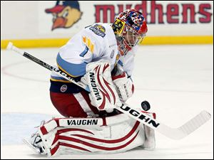 Toledo Walleye goalie Petr Mrazek blocks a shot against Kalamazoo.
