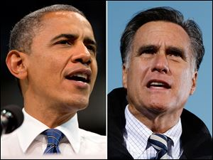 President Barack Obama, left, and GOP presidential challenger, Mitt Romney.