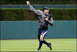 Detroit Tigers pitcher Justin Verlander throws at Comerica Park in Detroit to prepare for his start against the New York Yankees in Game 3 of the American League championship series.