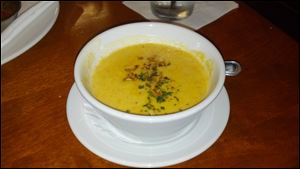 The sweet and savory apple-squash soup at Biaggi's in Levis Commons in Perrysburg is even better on cold October afternoons.