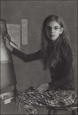 Leslie Adams (American) Portrait of the Artist as a Young Girl. Charcoal on paper, heightened with white.