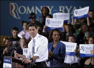 Republican vice presidential candidate, Rep. Paul Ryan, R-Wis., accompanied by former Secretary of State Condoleezza Rice, speaks at a campaign rally at Baldwin Wallace University in Berea.