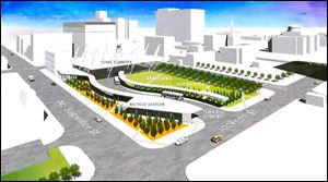 A graphic rendering of the proposed Tarta hub at the corner of Superior Street and Jackson Avenue.