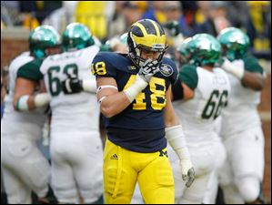 Michigan's Desmond Morgan, 48, walks away as Michigan State University players celebrate a Spartan touchdown in the third quarter.
