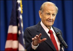 George McGovern speaks at the winter commencement of First Coast technical College in St. Augustine, Fla., in January, 2012. He died at 90 Sunday.
