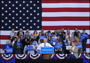 Vice President Joe Biden gestures while speaking to supporters during a campaign rally at Marion Harding High School in Marion, Ohio.