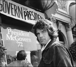 Actor Warren Beatty stands outside the headquarters for Democratic presidential candidate, U.S. Sen. George McGovern in this 1972 photo in Beverly Hills, Calif.
