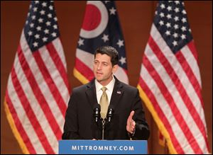 Republican vice presidential candidate Paul Ryan makes a policy speech about upward mobility and the economy Wednesday at Cleveland State University's Waejten Auditorium.