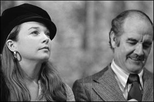 In this May 23, 1972 file photo, actress Shirley MacLaine, left, joins Sen. George McGovern in political discussions while the two appeared at the University of Oregon.