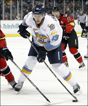 Walleye center Max Campbell had two goals and an assist in his Toledo debut, a 3-2 overtime win against the Cincinnati Cyclones last Friday at the Huntington Center.