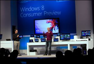 Steven Sinofsky, president of Windows and Windows Live attends the Windows 8 Consumer Preview presentation during a news conference in Spain in February.