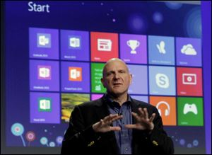 Microsoft CEO Steve Ballmer gives his presentation at the launch of Microsoft Windows 8, in New York. Windows 8 is the most dramatic overhaul of the personal computer market's dominant operating system in 17 years.