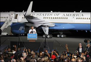 President Barack Obama speaks at a campaign event tonight at Burke Lakefront Airport in Cleveland.