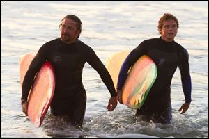 Gerard Butler, left, and Jonny Weston in a scene from