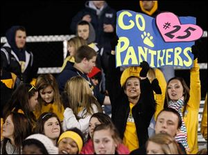 Whitmer fans cheer in celebration as the Panthers defeat the Irish 42-0.
