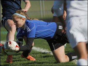 Anthony Wayne junior goalkeeper Taylor Hill grabs the ball during the second half.