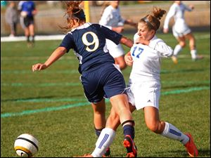Anthony Wayne senior Allana Bell takes control of the ball from Notre Dame's junior Natalie Deeb.