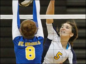 Notre Dame's Madeline Smyth (5) hits the ball against St. Ursula's Lauren Graves (8).