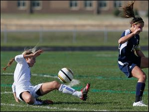 Anthony Wayne junior Chole Brown retains control of the ball despite pressure from Notre Dame Academy's Dani Johnson.