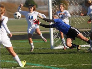 Anthony Wayne junior goalkeeper Taylor Hill goes for the save during the second half.