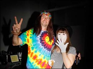 Andy and Becky Clark came to the Bone Bash dressed as 'peace and quiet.'