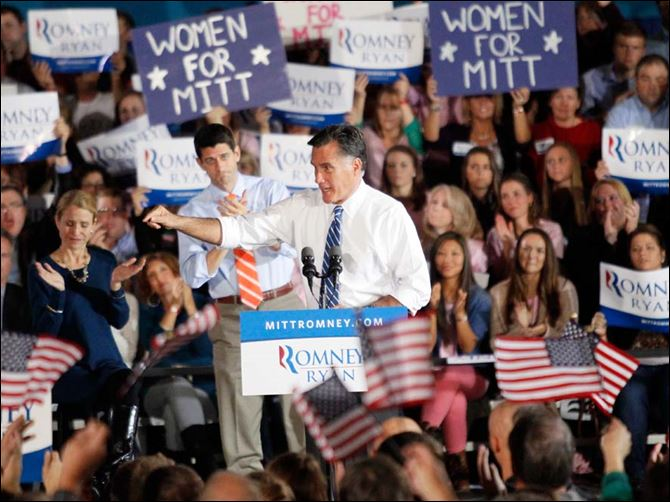 Republican presidential nominee Mitt Romney speaks to the crowd Republican presidential nominee Mitt Romney speaks to a crowd at the University of Findlay's Koehler Fitness & Recreation Complex. 'Findlay, Ohio, may well be the place that decides who the next president is,' said Mr. Romney, who also made campaign stops in Marion and Celina.