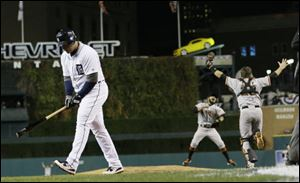 Detroit Tigers' Miguel Cabrera walks away after striking out to end Game 4 of baseball's World Series against the San Francisco Giants Sunday.