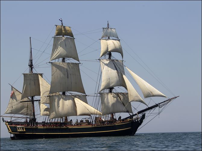Superstorm Sandy Ship The tall ship HMS Bounty is seen sailing on Lake Erie off Cleveland in July, 2010.
