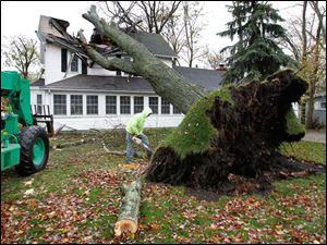 Josh Moritz, an employee of B & L Shortridge Tree Service in Port Clinton cuts up a limb from a tree that fell into a house at the corner of Sycamore and West Sixth Street in Lakeside, Ohio.