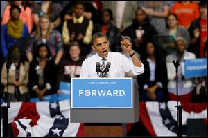 President Obama addresses a crowd at the Stroh Center in Bowling Green in late September.