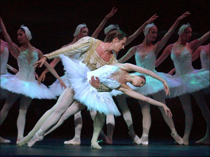 "The English National Ballet, seen here rehearsing ""Swan Lake,"" will hold its first international summer course in the Toledo area next year"