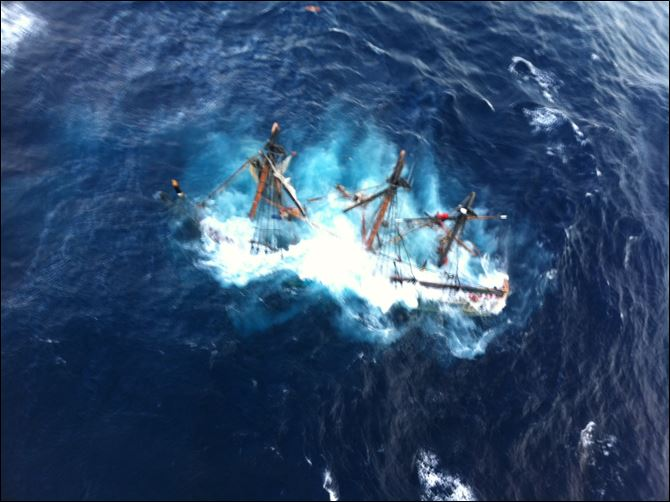 Superstorm-Ship The HMS Bounty, a 180-foot sailboat, sinks in the Atlantic Ocean during Hurricane Sandy approximately 90 miles southeast of Hatteras, N.C., Monday.