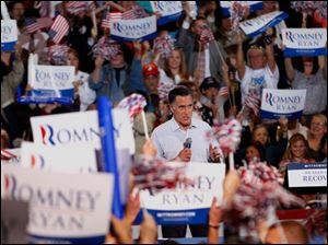 Republican presidential candidate Mitt Romney speaks Sept. 27, 2012, at the SeaGate Centre.
