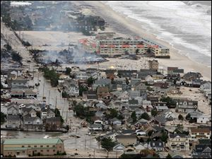 Damage north of Seaside, N.J. can be seen after superstorm Sandy made landfall in Monday evening.