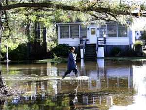 Letter carrier Dawn Greco wades in the water to deliver the mail after superstorm Sandy in Crisfield, Md.