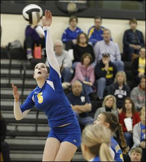 St. Ursula's Katie McKernan, a senior who will play at Holy Cross, is second on the team with 214 kills and leads in assists with 349.