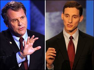Sen. Sherrod Brown, left, contends that his opponent cannot be trusted. Ohio Treasurer Josh Mandel, right, says Mr. Brown has helped drive up the federal debt.