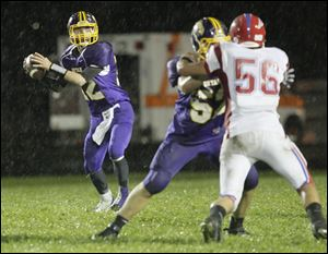 Bryan quarterback Austin Schimmoeller looks to pass against Patrick Henry. Schimmoeller as completed 126 of 201 passes for 1,917 yards, and rushed for 1,202 yards.