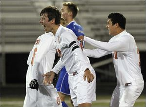 Southview's Jared Lyle reacts to scoring one of his two goals against Anthony Wayne during the D-I soccer regional semifinal Wednesday at Central Catholic.